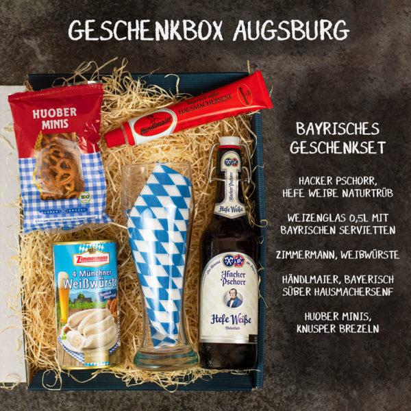 Geschenkbox Augsburg gefüllt mit Bier aus Bayern