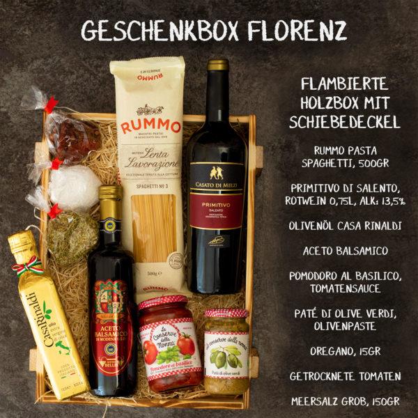 Geschenkkorb Florenz gefüllt mit Inhalt aus Italien