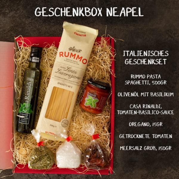 Geschenkkorb Neapel Gefüllt mit Pasta und Öl