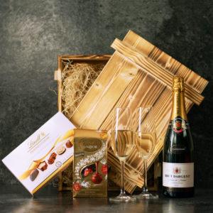 Geschenkbox Nizza - Pralinen und Sekt Geschenk Hochzeit