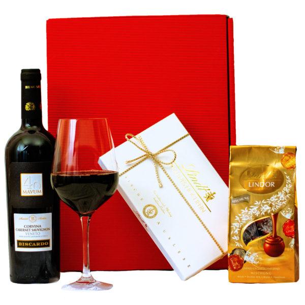 Geschenkbox Mailand - Wein und Pralinen Geschenk