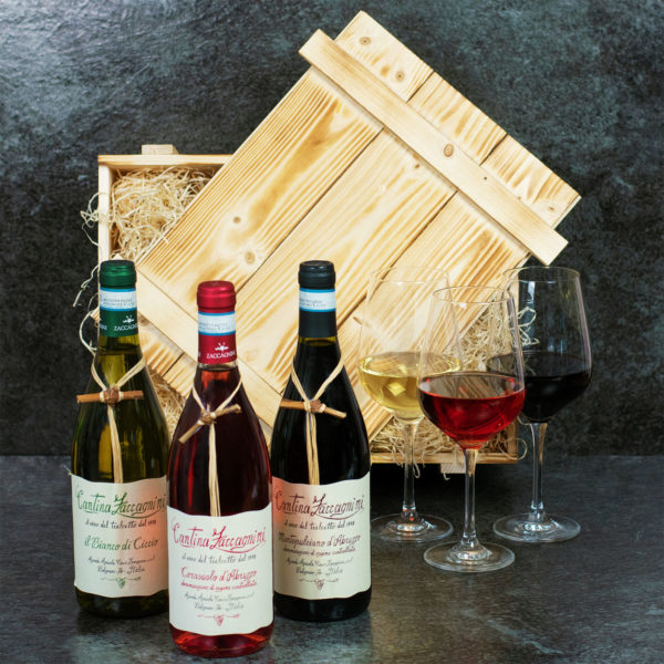 Geschenkset Wein aus Italien mit Holzkiste