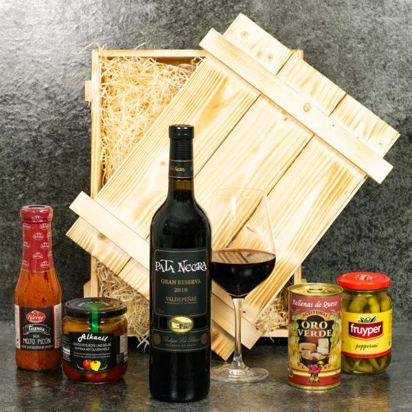 Spanischer Präsentkorb mit Wein und Spezialitäten aus Spanien