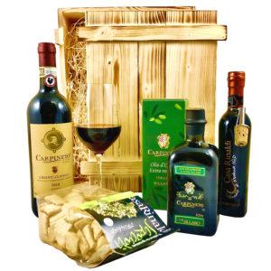 Geschenkset Siena | Exklusiver Geschenkkorb gefüllt mit Rotwein & Olivenöl aus Italien | Feinschmecker Präsentkorb mit Wein & italienischen Spezialitäten aus der Toskana