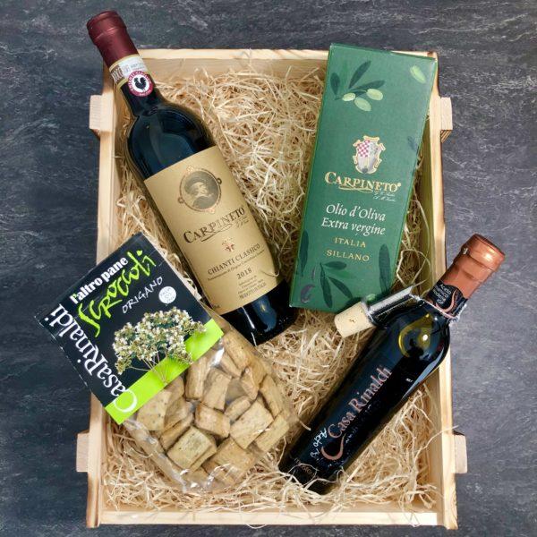 Exklusiver Geschenkkorb gefüllt mit Rotwein & Olivenöl aus Italien